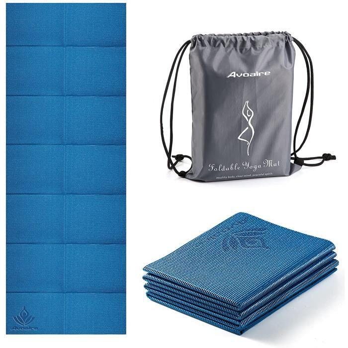Avoalre Tapis Yoga Antidérapant et Pliable Tapis de Sport INDECHIRABLE Epais 5mm Tapis Yoga de Voyage 173x61CM pour Pilâtes, Gym, Aé