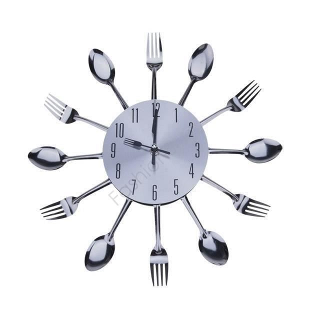 L2455 Élégant Cool Design moderne Horloge murale Argent coutellerie de cuisine Ustensile Vintage Design Horloge murale fourchette