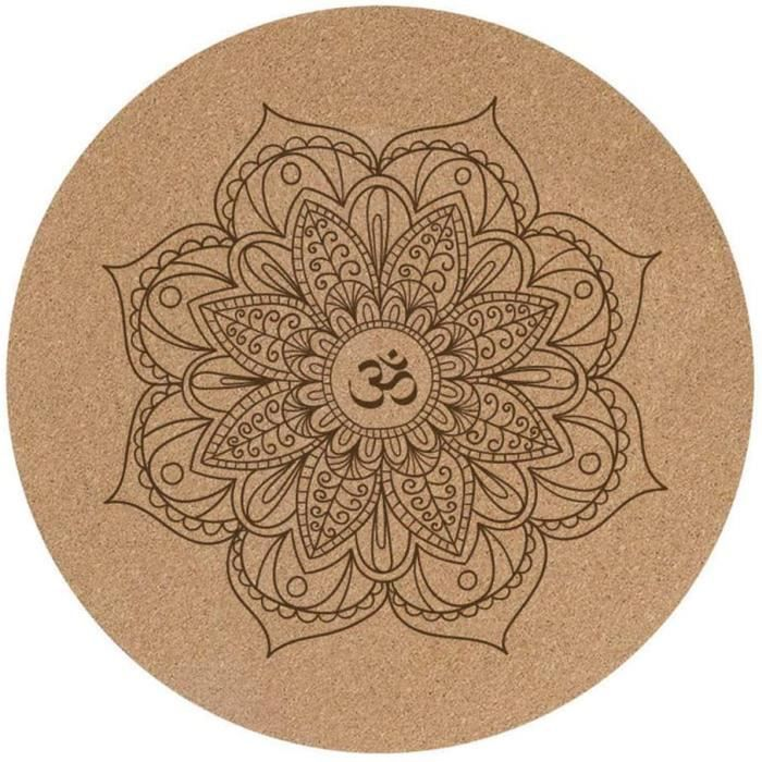 TAPIS DE YOGA nd Petit tapis de yoga rond en caoutchouc liegravege 60 x 60 cm x 3 mm antideacuterapant coussin de meacuteditatio660