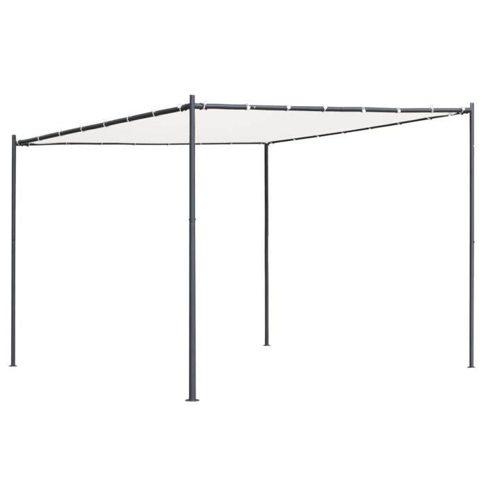 ❤Moderne Tonnelle de jardin Décor Tonnelle - Belvédère Tonnelle de réception avec toit plat 3x3x2,4 m Blanc 180 g-m² ��53395