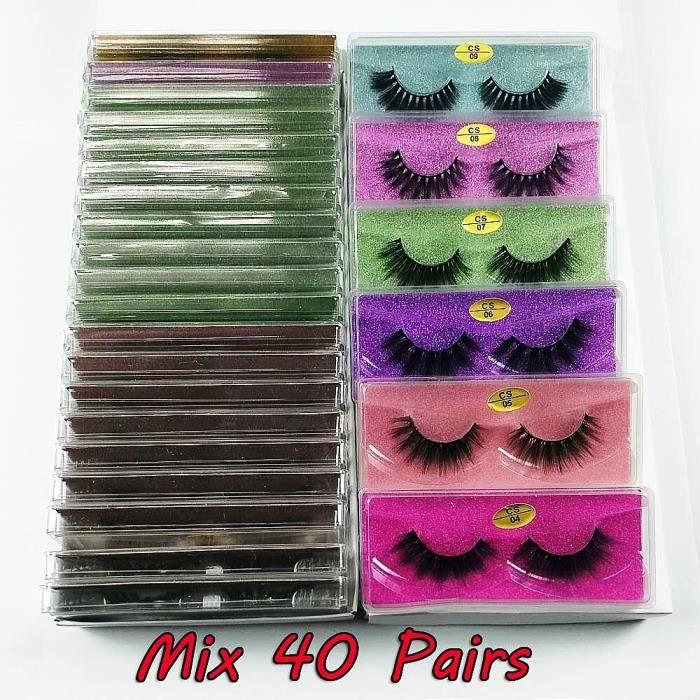 Maquillage,Lot de faux cils en vison naturel 3d,30-50-100 paires,pour maquillage,vente en gros - Type Mix 40 pairs