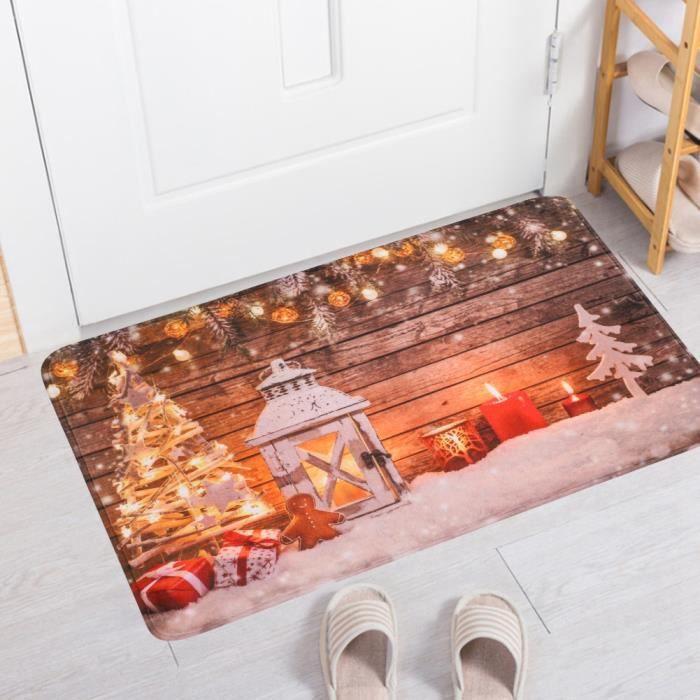 Tapis de porte, tapis de tapis de sol de tapis de sol de bienvenue de poupée de bienvenue de Noël de flanelle de 50x80cm avec le
