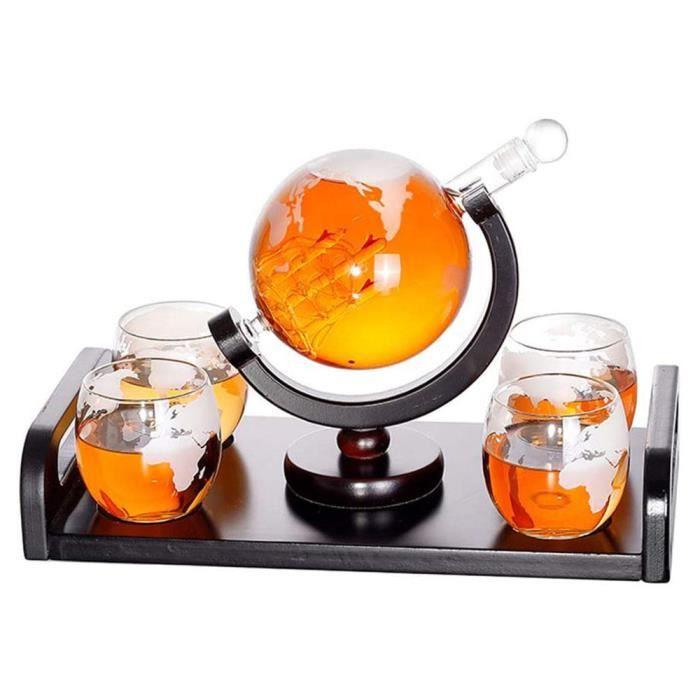 Ensemble de carafe à whisky, carafe globe gravée du monde 1000 ml avec 4 verres de carte beau cadeau de support pour papa