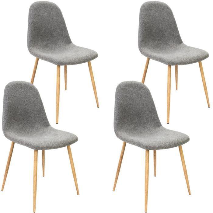Lot de 4 Chaises Design avec revêtement en tissu - Gris clair - Tendance et moderne