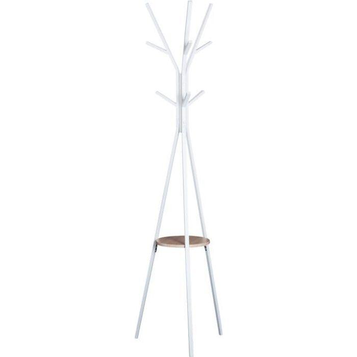 Porte-manteau trépied design contemporain branches étagère + 9 patères dim. 45L x 45l x 180H cm métal blanc 45x45x180cm Blanc