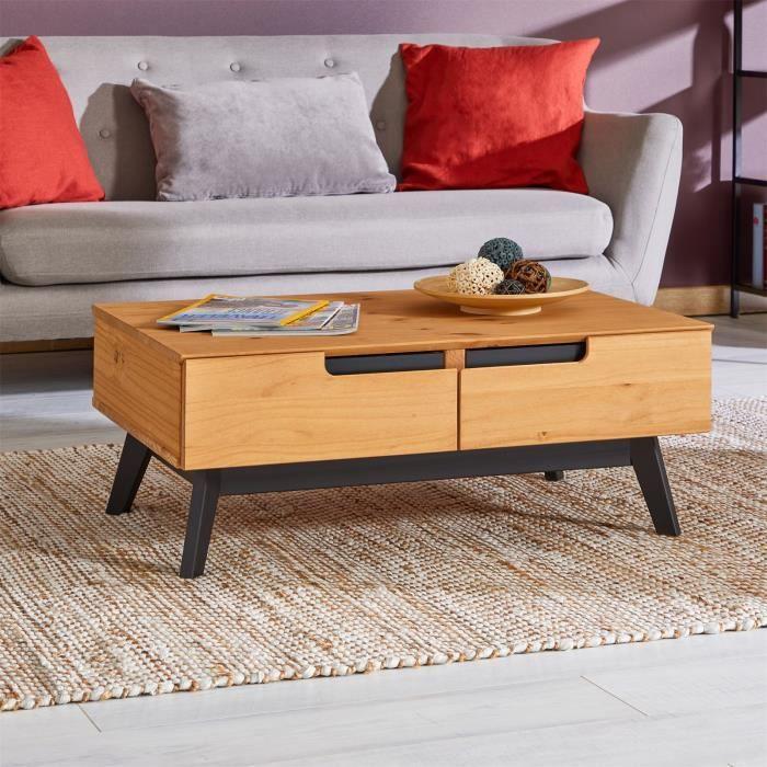 Table basse TIBOR design vintage scandinave nordique table de salon rectangulaire 2 tiroirs 2 niches pin massif finition bois teinté