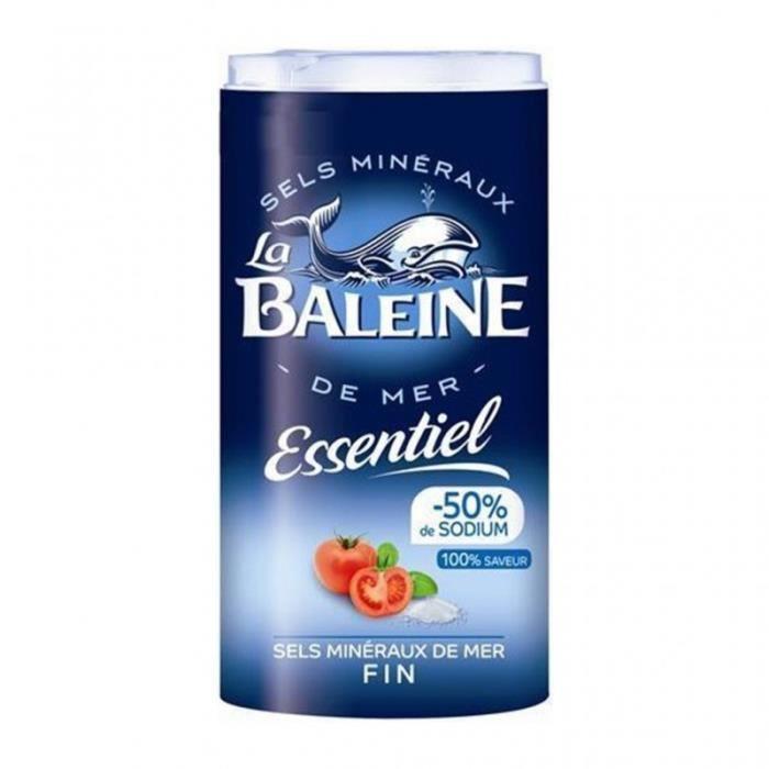 La Baleine Essentiel (-50% de Sodium) Sels Minéraux de Mer Fin 350g (lot de 4)