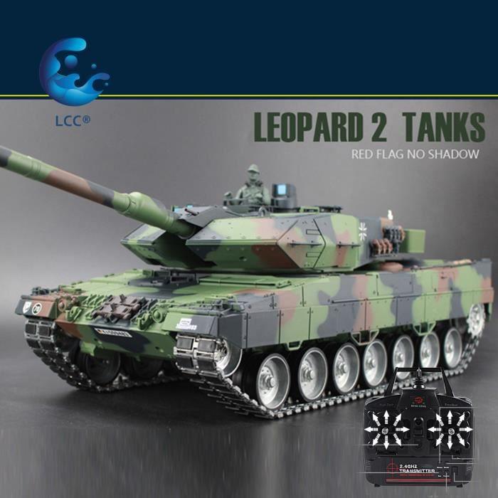 LCC® 2.4Ghz Radio Control 1/16 Germany Char radiocommandé Leopard II A6 Air Soft RC Battle Tank Smoke & Sound
