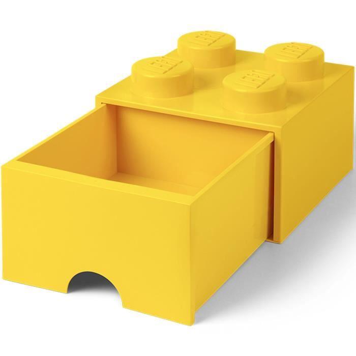LEGO 40051732 Boîte bac Brique de rangement empilable Légo 4 plots 1 tiroir Plastique Jaune H18 x 25 x 25 cm