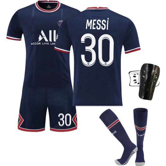 Maillot de Football Une Collection de Paris-Messi 30 Maillot Domicile Bleu Tenue + Chaussette + Support Protection pour Enfant