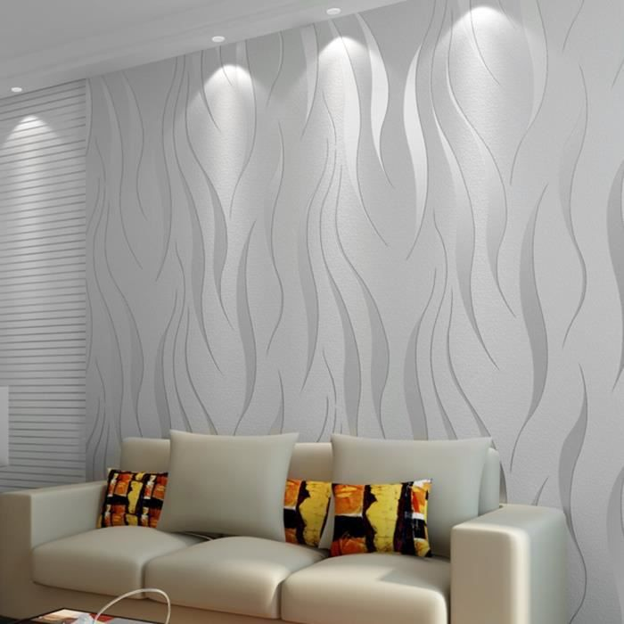 Rouleau de papier peint flocage 3D haut de gamme de luxe Pour la maison, décoration de revêtement mural 53cm*10m