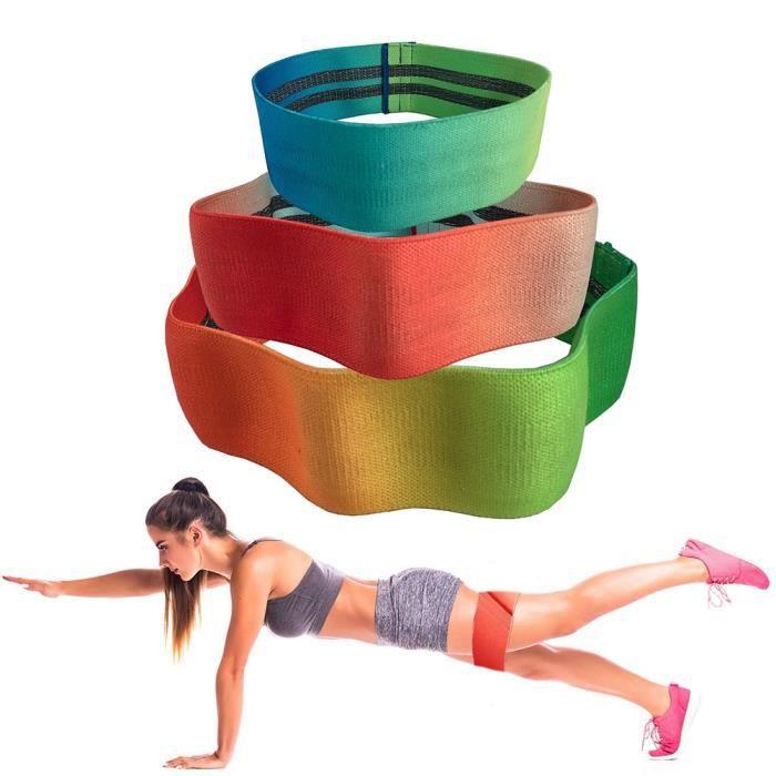 Bande de Résistance 3 Set, Bandes Elastique Fitness - Équipement d'Exercices pour Jambes et Fesses, Yoga, Pilates - Dégradé