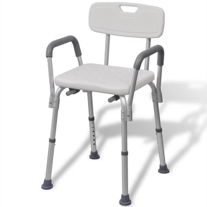 Chaise de douche cadre en Aluminium Blanc 53 x 41,5 x (72-84,5) cm Max Poids charge 100 kg pour personnes âgées/à mobilité réduite