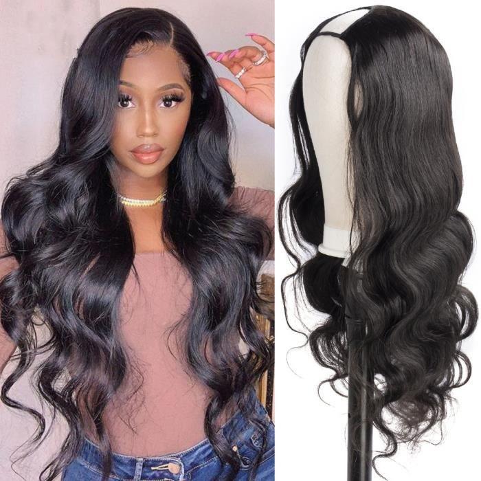 16'' U partie perruque cheveux humains perruque vague de corps noir brésilien demi perruque 180% densité perruques