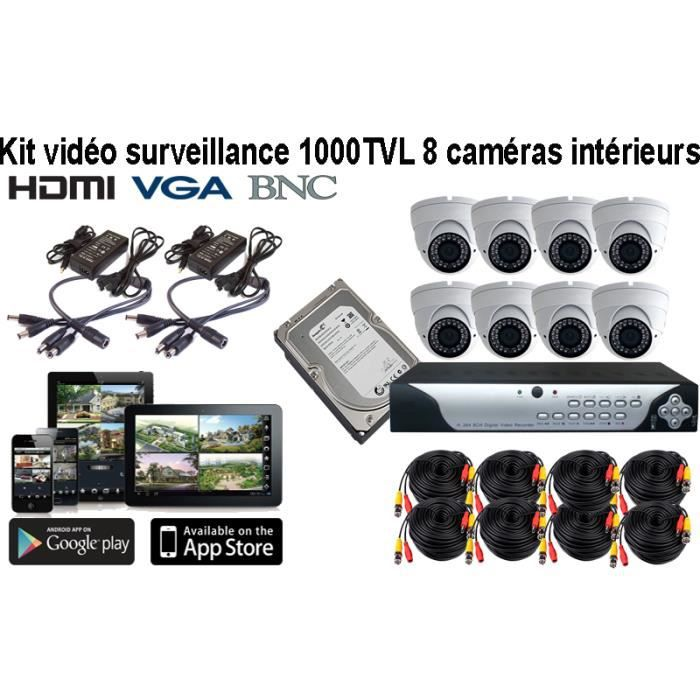 kit de video surveillance 8 cameras 1000tvl varis prix pas cher cdiscount. Black Bedroom Furniture Sets. Home Design Ideas