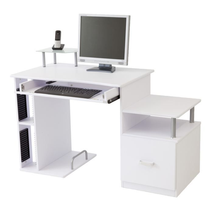 bureau informatique pascal blanc achat vente bureau bureau informatique pascal cdiscount. Black Bedroom Furniture Sets. Home Design Ideas