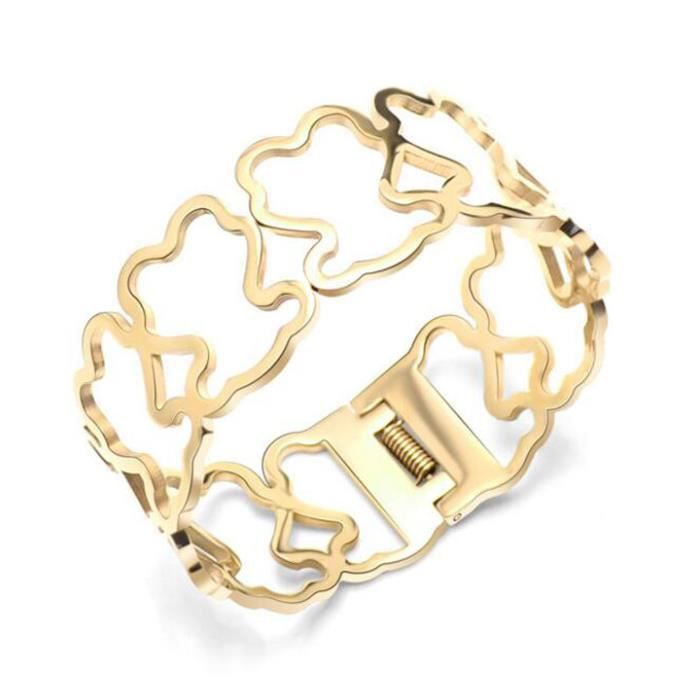 Bracelet 18K coated titanium hollow bear cute fashion bracelet