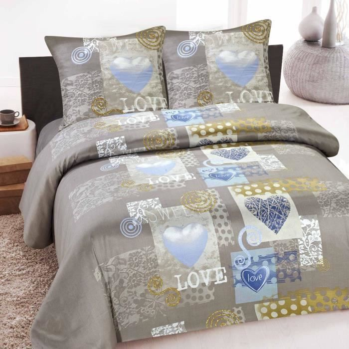housse de couette 2 places microfibres douceur love achat vente housse de couette soldes. Black Bedroom Furniture Sets. Home Design Ideas