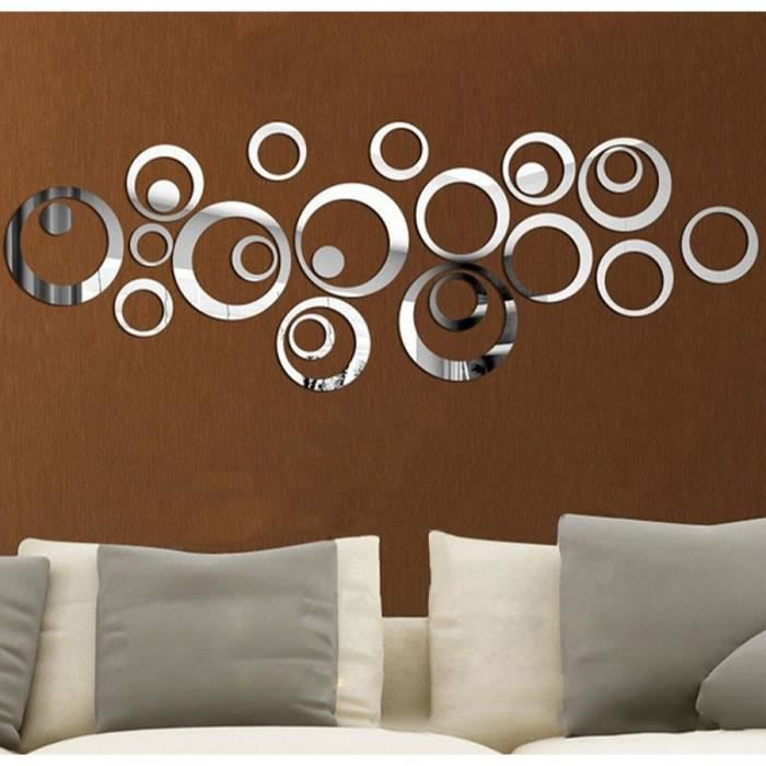 24 pcs set 3d effet miroir acrylique sticker mural cercle art mural maison decoration amovible. Black Bedroom Furniture Sets. Home Design Ideas