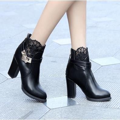 de de Martin chaussures 38 femme épais Chaussures à avec bottesnoir talons la hauts dentelle Rj3ALq54