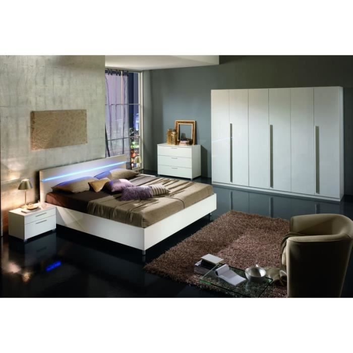 chambre coucher moderne blanche 160x200 jeanne meuble house achat vente chambre compl te. Black Bedroom Furniture Sets. Home Design Ideas