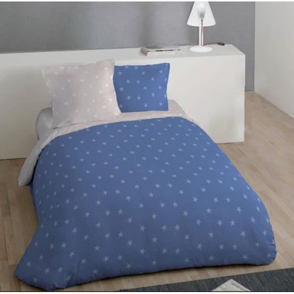 housse de couette r versible 220x240 cm microfibre etoile bleu lin 2 taies d oreiller 63x63 cm. Black Bedroom Furniture Sets. Home Design Ideas