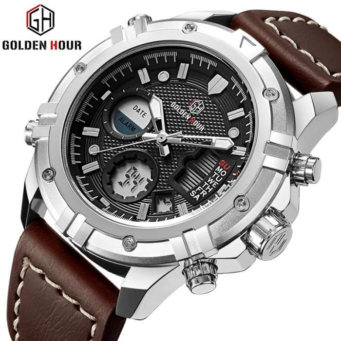 Date Horloge En Quartz Mâle De Mode Militaire Montres Sport Cuir Luxe Hommes Montre Étanche qRjAS45c3L
