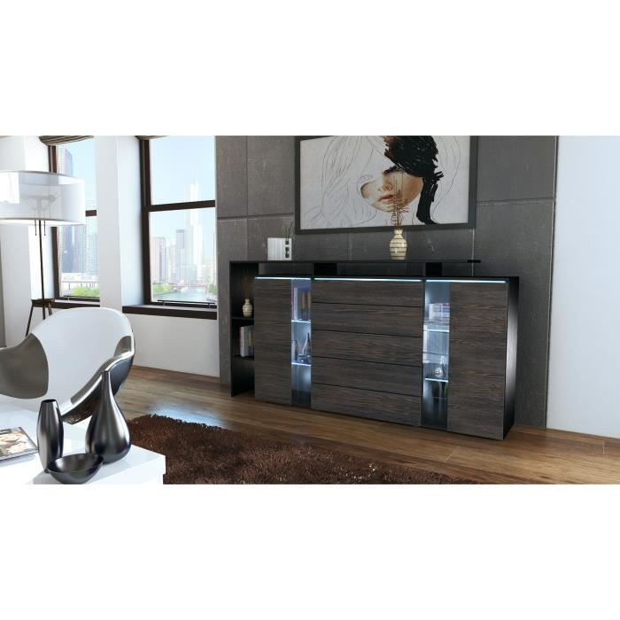 buffet commode noir et bois weng vitr achat vente. Black Bedroom Furniture Sets. Home Design Ideas