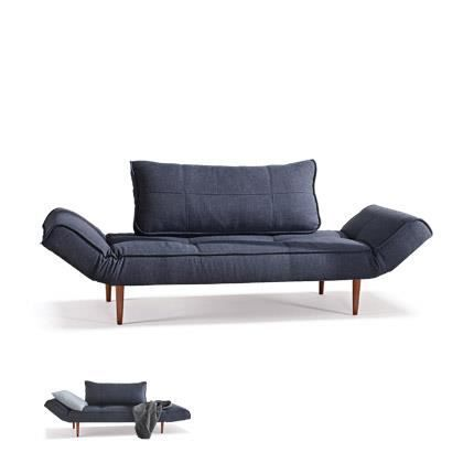 canap bleu nuit pieds bois fonc zeal achat vente canap sofa divan cdiscount. Black Bedroom Furniture Sets. Home Design Ideas