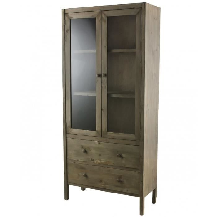 meuble de rangement armoire vitrine vaisselier biblioth que en bois 32x81x180cm achat vente. Black Bedroom Furniture Sets. Home Design Ideas