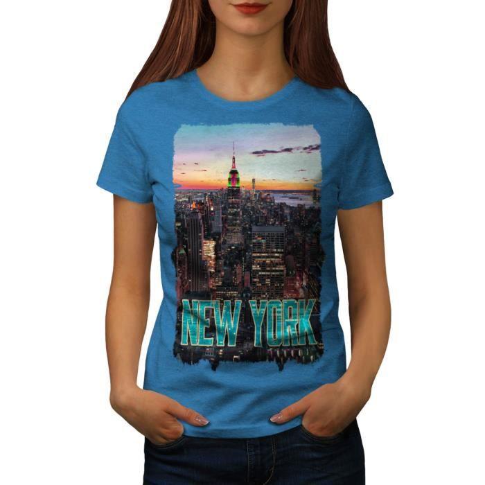 Nouveau York Le coucher du soleil Ville Etats Unis américain Ville Women S 2XL T shirt | Wellcoda