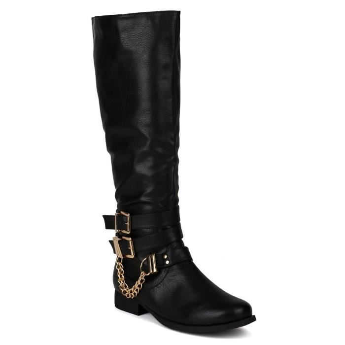 Prima-12h 2 Leatherette Buckles Chains Knee High Motorcycle Riding Boot UCV0L Taille-37