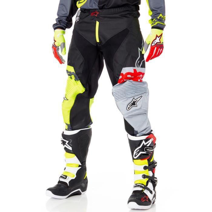 Pantalon Motocross Alpinestars 2018 Racer Flagship Fluorescent Noir Anthracite Cdiscount Auto