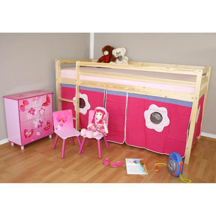 lit enfant superpos mezzanine en bois naturel avec un rideau rose achat vente lit complet. Black Bedroom Furniture Sets. Home Design Ideas