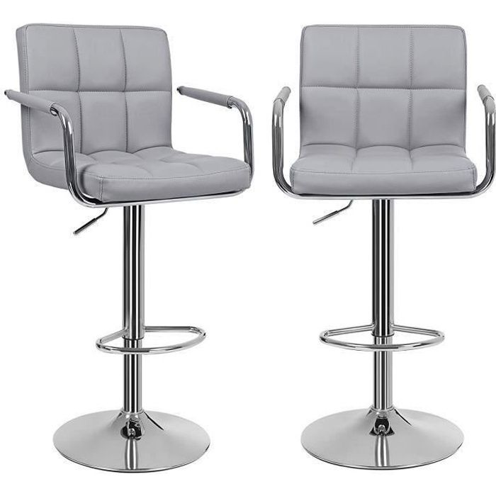 lot de 2 tabourets de bar gris haut chaise de bar pu chrome hauteur r glable grande base 41 cm. Black Bedroom Furniture Sets. Home Design Ideas