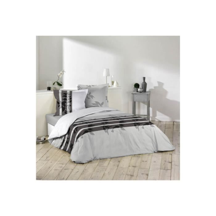 parure de couette imprim e en flanelle achat vente housse de couette cdiscount. Black Bedroom Furniture Sets. Home Design Ideas