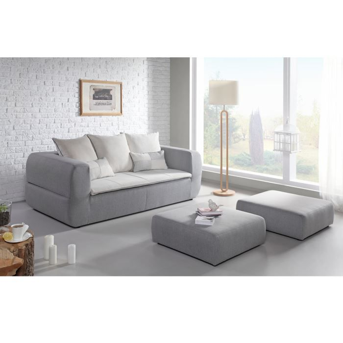 canap convertible 3 places tissu beige valentin achat vente canap sofa divan tissu. Black Bedroom Furniture Sets. Home Design Ideas