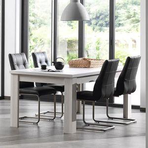 TABLE À MANGER SEULE Table extensible contemporaine couleur chêne blanc