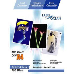 PAPIER PHOTO LabelOcean Pack de 100 feuilles de papier photo br