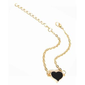 BRACELET DE MONTRE Bracelet doré coeur émail noir (noir - Métal doré)