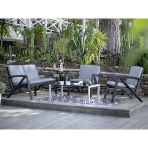 salon de jardin aluminium gris achat vente salon de jardin aluminium gris pas cher cdiscount. Black Bedroom Furniture Sets. Home Design Ideas