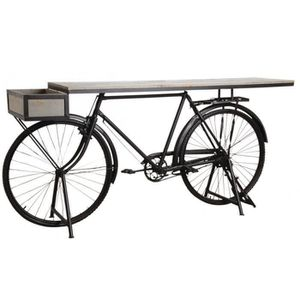 CONSOLE Console vélo avec plateau en bois - Dim : 184 x 48