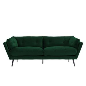 CANAPÉ - SOFA - DIVAN Canapé droit 3 places coloris vert émeraude en vel