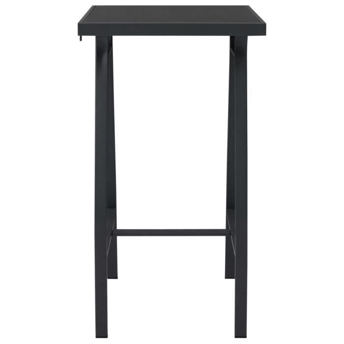 Mode Table de bar de jardin Noir 60x60x110 cm Verre trempé-MEY