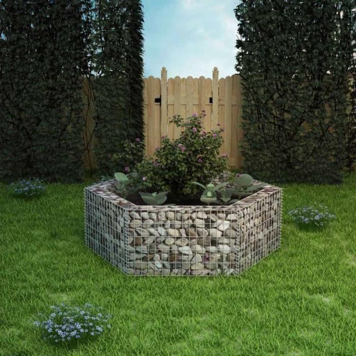 WIPES Jardinière à gabion hexagonale 160 x 140 x 50 cm