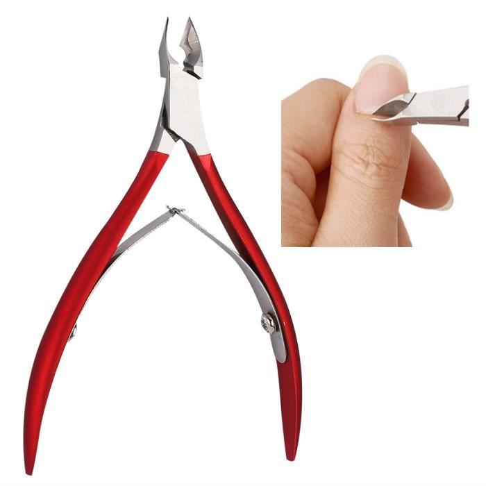 Tondeuse à ongles en acier inoxydable Ciseaux de peau morte Callosités Outil de manucure (Rouge)-CHE