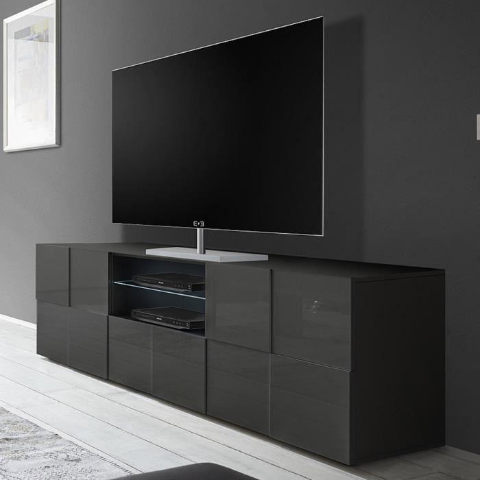 Grand meuble TV gris laqué brillant DOMINOS 2 L 181 x P 42 x H 57 cm Gris
