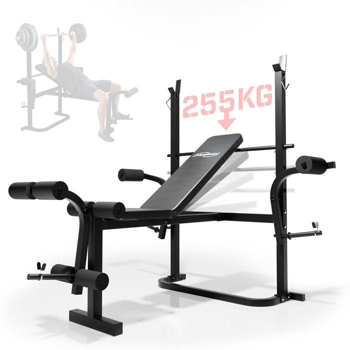 Physionics® Banc de Musculation Multifonction - Pliable/Inclinable,Charge Max. 255kg - Station, Banc d'Haltérophilie Complet,Fitness