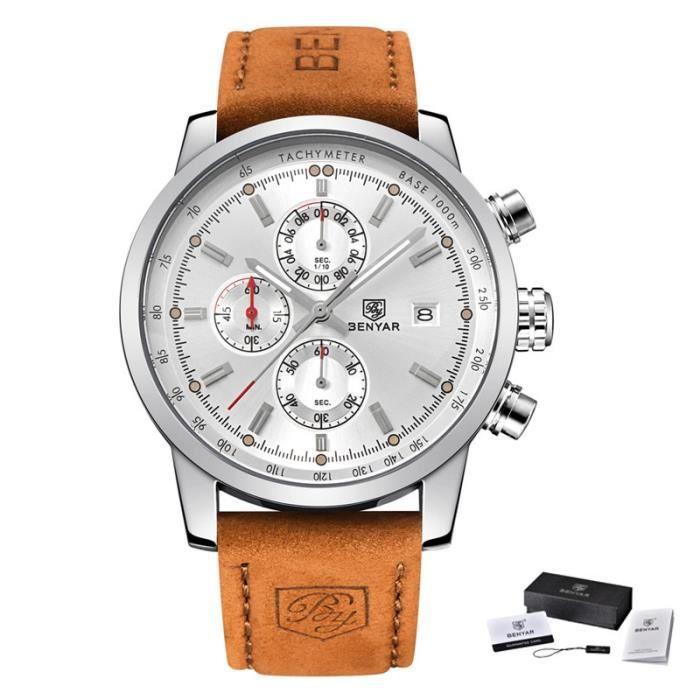 BENYAR – montre de Sport à Quartz pour hommes, chronographe, marque de luxe, à la mode L Brown silver white -QUIN7812