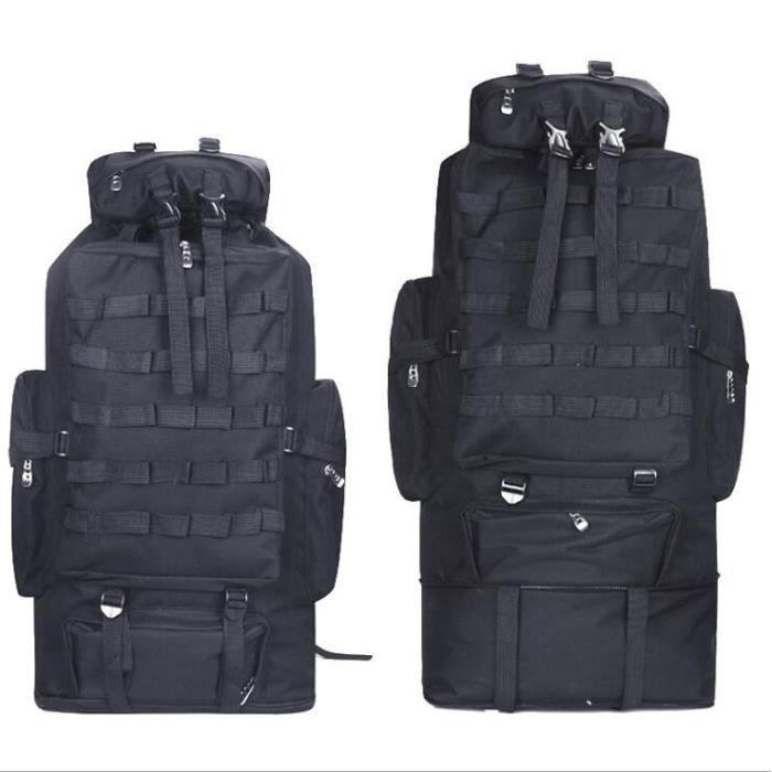 couleur noire -Sac à dos camouflage militaire 100l, léger, pliable, pour randonnée touristique, militaire, Molle, tactique, Nylon